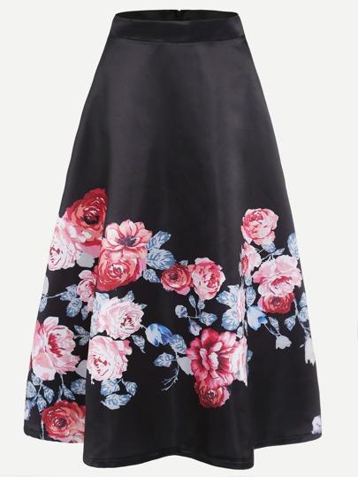 Falda con estampado floral espalda con cremallera línea A - negro