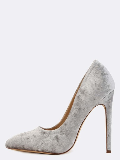 Pointy Toe Stiletto Velvet Pumps GREY