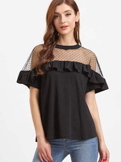 Black Dotted Mesh Shoulder Ruffle T-shirt