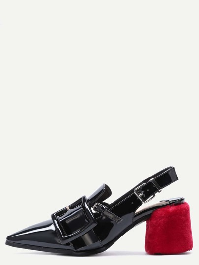 Black Patent Leather Point Toe Buckled Pumps with Embellished Heel