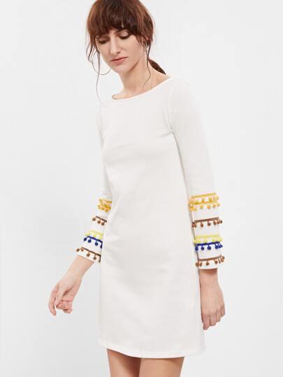 White Pom Pom Sleeve Shift Dress