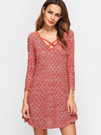 Red Criss Cross Front V Neck Textured Dress