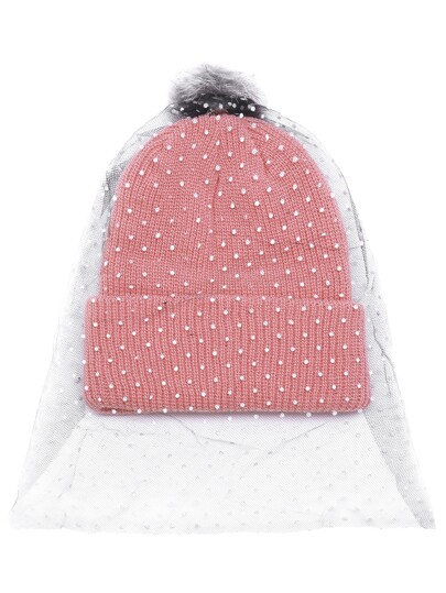 Розовая ребристая шапка с помпоном с фатой в горошек