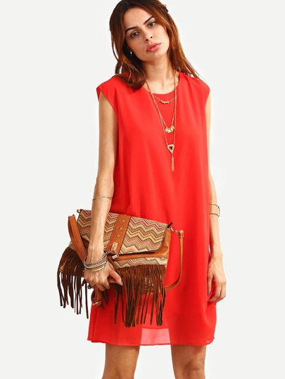 Red Chiffon Shift Dress With Zipper Back