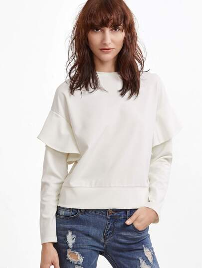 White Drop Shoulder Ruffle Trim Sweatshirt