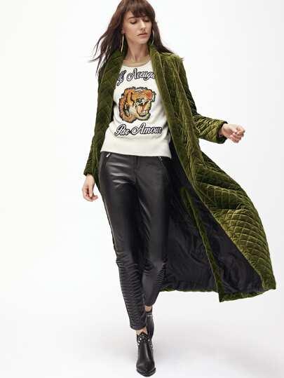 Модное длиннон стеганое пальто цвета хаки