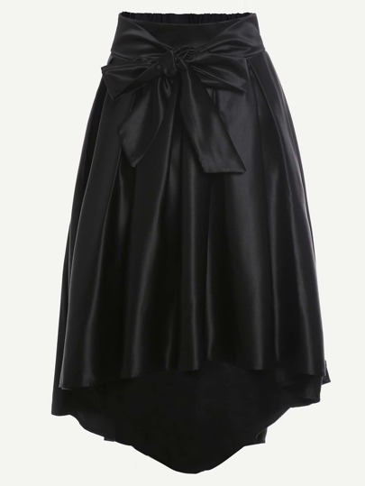 Black Bow Tie Front Dip Hem Skirt