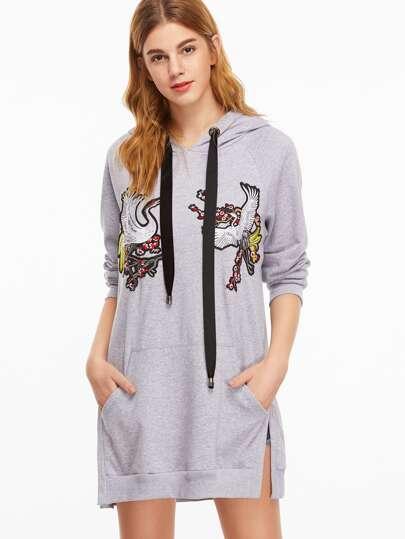Grey Cranes Embroidery Split Side Drawstring Hooded Sweatshirt