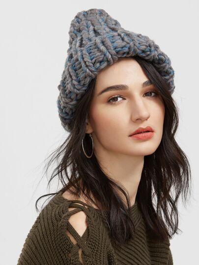 Bonnet tricot de câble -gris et bleu