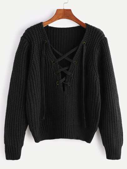 Jersey de punto grueso con cuello en V con cordones - negro