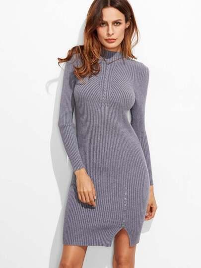 Vestido de canalé ribete con abertura con botón - gris