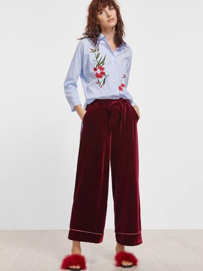 Burgundy Velvet Self Tie Wide Leg Pants