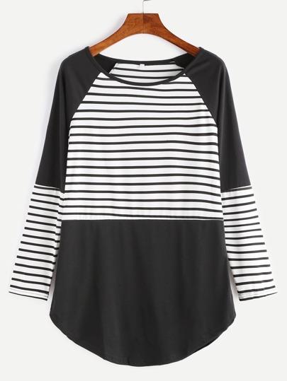 T-Shirt Con Orlo Curvato Maniche A Raglan A Strisce - Contrasto