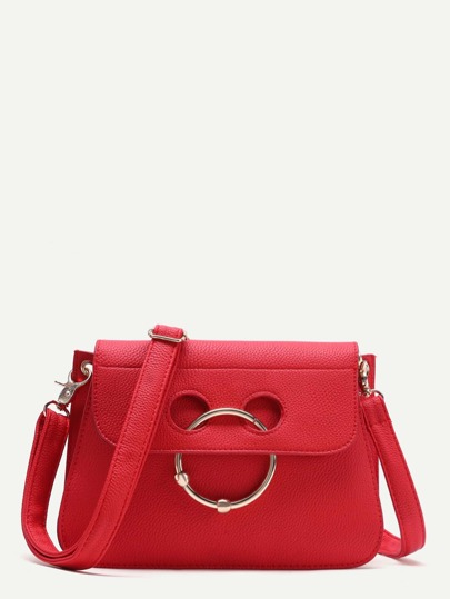Red Pebbled Leather Nose Ring Flap Shoulder Bag