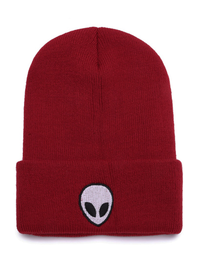 Burgundy Alien Embroidered Funny Beanie Hat