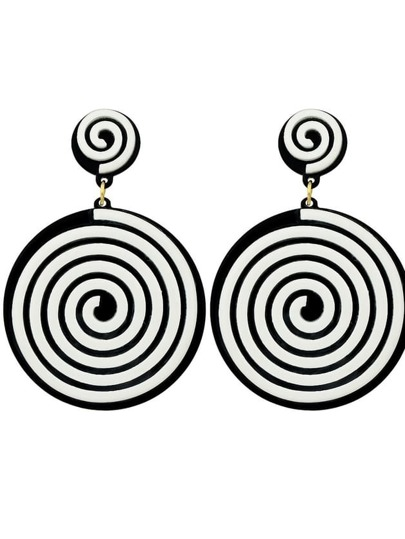 Black Color Acrylic Maze Pattern Big Round Earrings