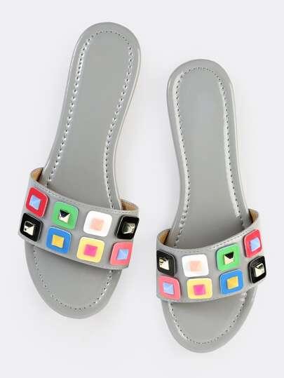Patent Open Toe Slide Sandals GRAY