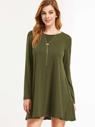 Vestido de manga larga - verde militar