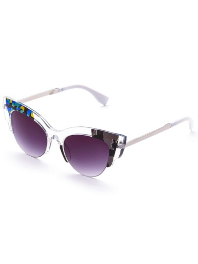 Cut Away Frame Cat Eye Sunglasses with Purple Lens