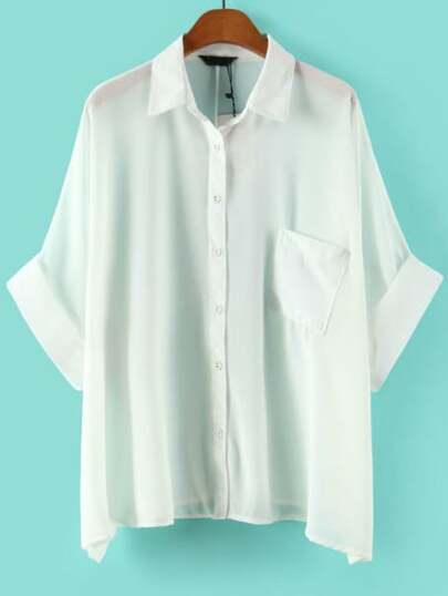 White Rolled Cuff Blouse With Pocket