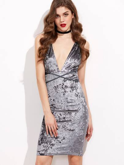 Grey Plunge Neck Crisscross Back Velvet Sheath Dress