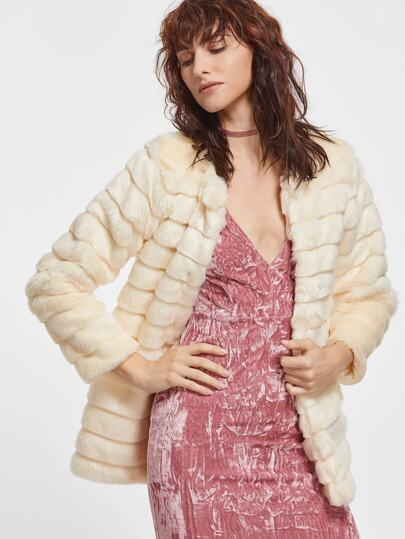 Beige Open Front Faux Fur Coat