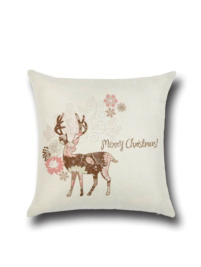 White Christmas Print Pillowcase Cover