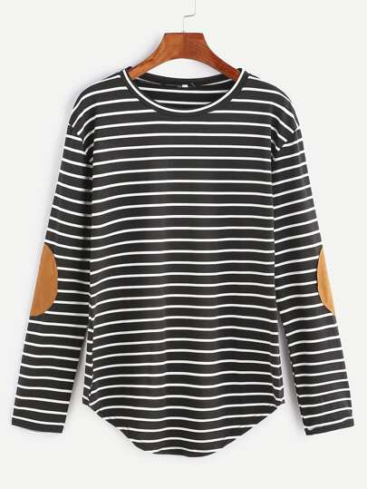 Black Elbow Patch Striped T-shirt
