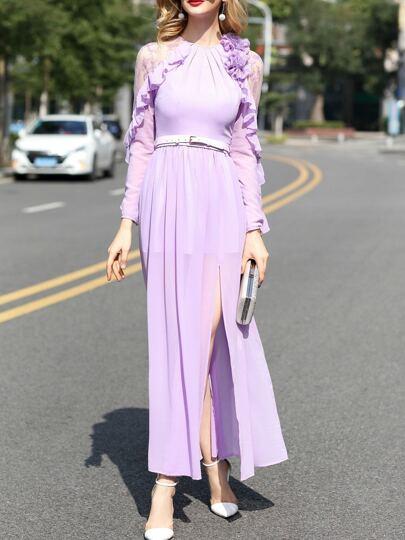 Lila Kontrast Gaze Gürtel Blumen Applique Split Kleid
