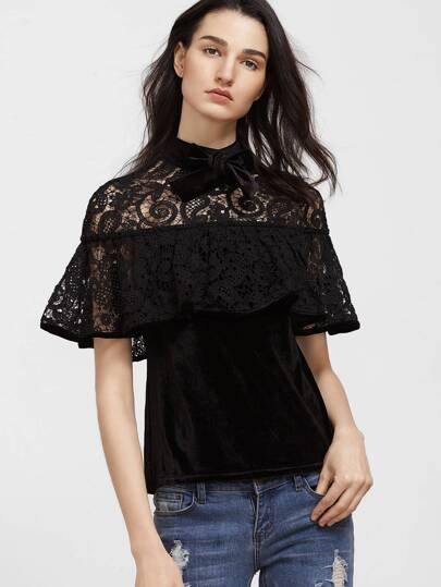 Bow Neck Crochet Shoulder Frill Velvet Top