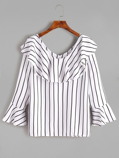 White Bell Sleeve Ruffle Trim Striped Blouse