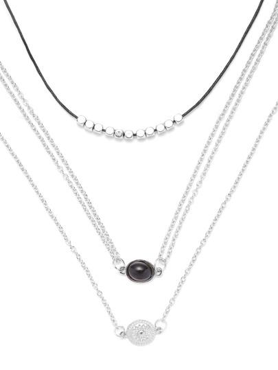 Silver Plated Charm Pendant Necklace Set 3PCS