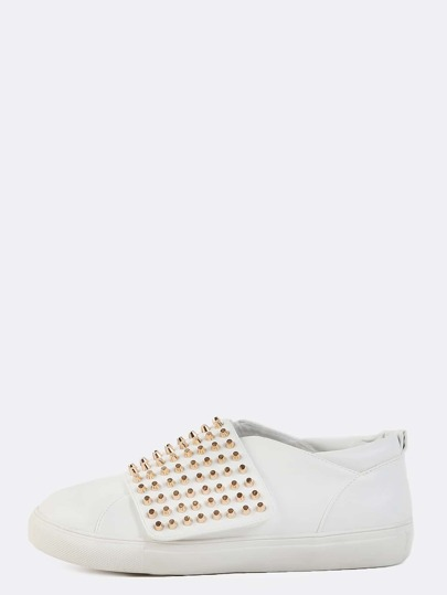 Studded Velcro Strap Sneakers WHITE