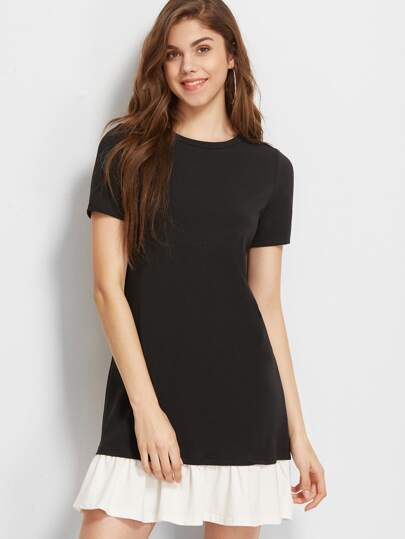 Black Contrast Ruffle Trim Short Sleeve Tee Dress