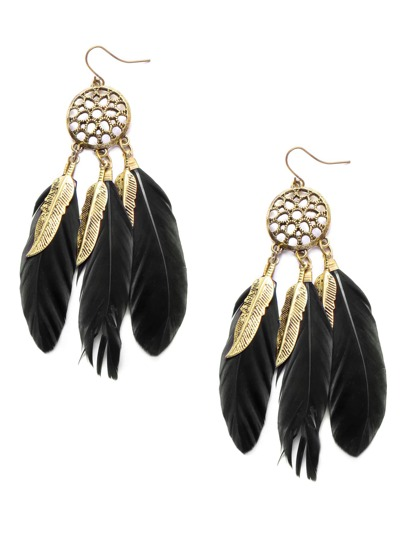 Gold Tone Black Feather Garniture Statement Earrings
