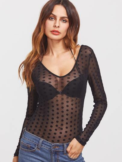 Caged Scoop Back Polka Dot Mesh Bodysuit