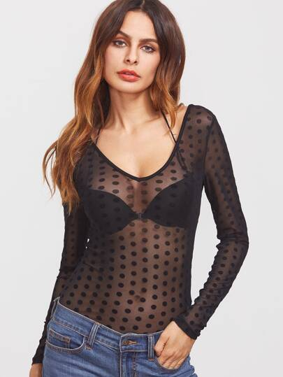 Black Caged Scoop Back Polka Dot Mesh Bodysuit