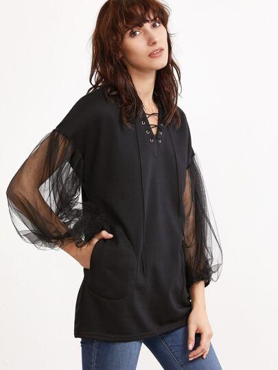 V Neck Contrast Mesh Sleeve Lace Up Pockets Sweatshirt