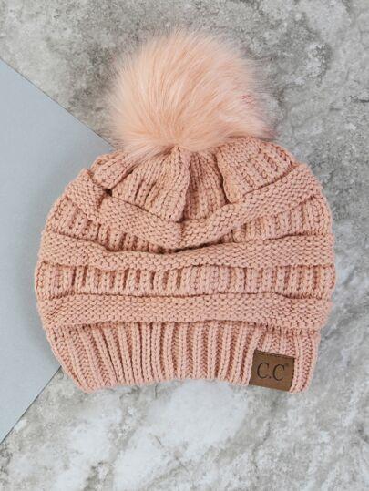 Pastel Pom Pom Knit Beanie PINK