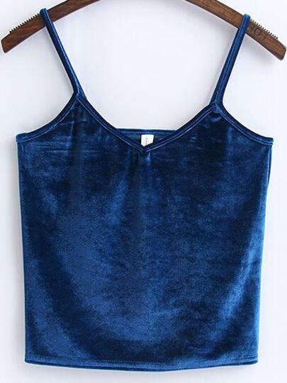 Top de terciopelo con tirantes finos - azul