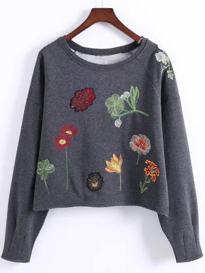 Heather Grey Raglan Sleeve Embroidered Sweatshirt