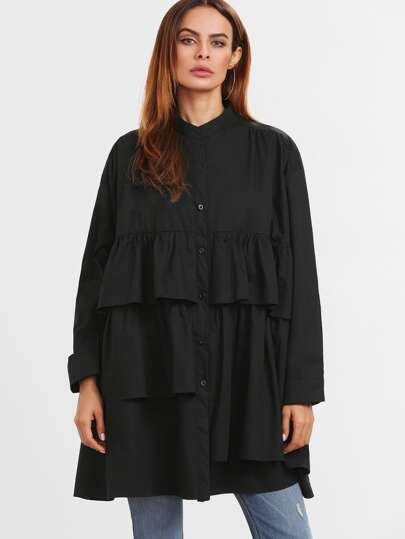 Black Drop Shoulder Ruffle Tiered Shift Blouse