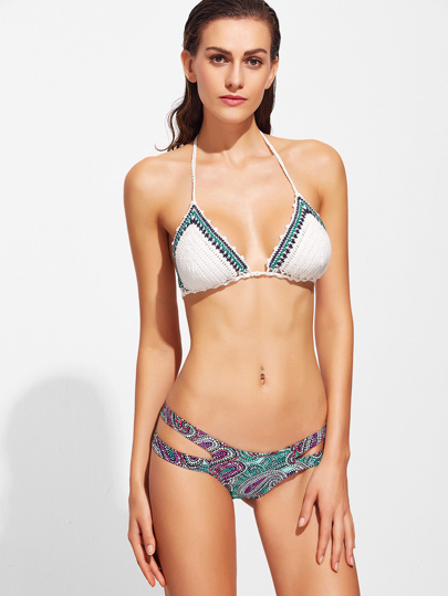 Printed Cutout Detail Crochet Bikini Set