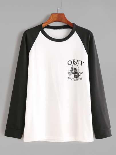 Contrast Raglan Sleeve Letter And Skull Print T-shirt