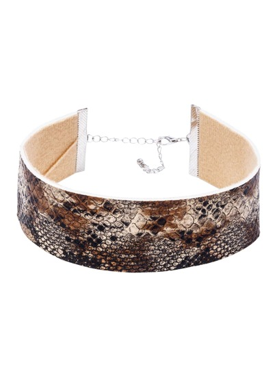 Brown Snake Leather Wide Choker