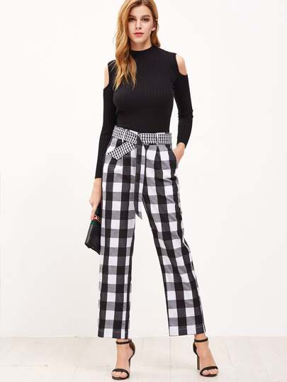 Black And White Checkered Belted Wide Leg Pants
