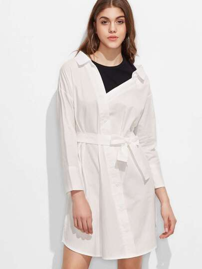 White Contrast 2 In 1 Shirt Dress With Belt