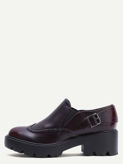 Burgundy Wedge Heel Wingtip Low Top Shoes