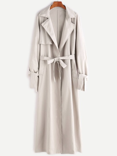 Beige Knotted Cuff Wrap Coat With Gun Flap