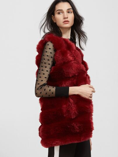 Burgundy Open Front Faux Fur Vest